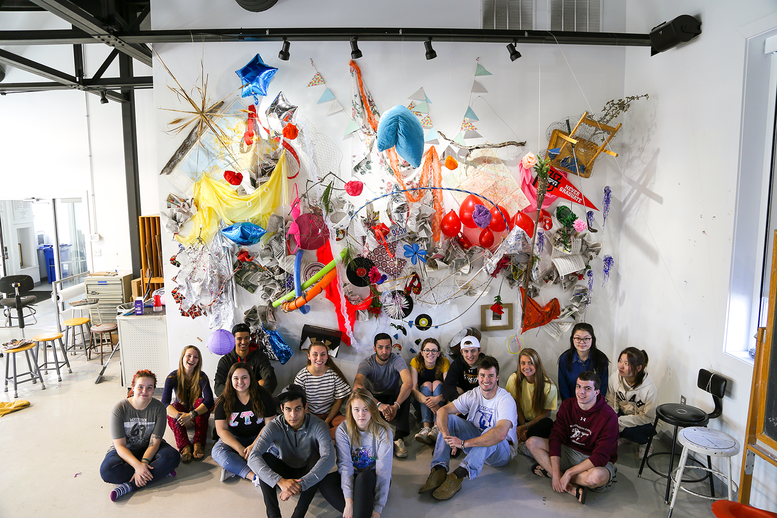 Intermedia_S (sculpture) students with a large-scale collaborative wall installation